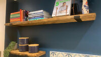 Reclaimed old rustic wood scaffold board recycled industrial shelf with brackets