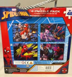 NEW Marvel SPIDER-MAN 4 PUZZLE PACK 1 Box 4 X 48 or 192 Pieces Total By Cardinal
