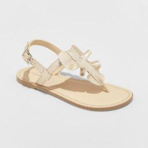 NWT Girls Thong Sandals Naomi Gold Ruffle Cat & Jack 7 8 9 10 11 12