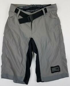 SPECIALIZED Men's MTB Belted Shorts Lined Padded Size S Gray Black B31