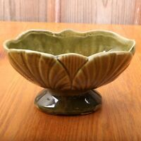 Vintage Leaf Pattern Footed Green Planter Art Pottery