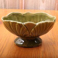Vintage Leaf Pattern Footed Green Planter Art Pottery