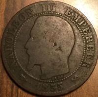 1855 B EMPIRE FRANCAIS 5 CENTIMES - a scarce variety