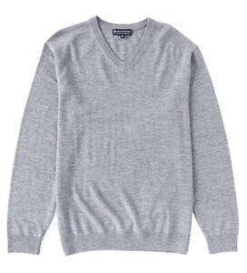 Hart Shaffner Marx Extra Fine Merino Wool V-Neck LS Men's Sweater Light Gray 3XB