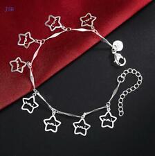 solid 925 Silver fashion women Lady Charms star wedding bracelet Jewelry LH033