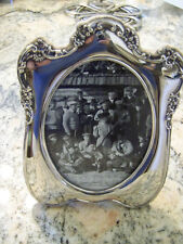 SUPERB CLASSIC OVAL SILVER FRAME 4x6 pic EUROPEAN PATTERN  - our FineThings4sale