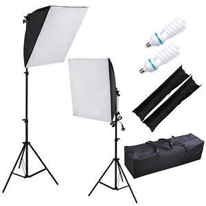 Photography Photo Softbox Studio Continuous Lighting 2x 135W Light Kit 3 Bags