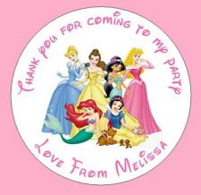 48 x Personalised Disney Princess Birthday Party Bag Stickers Sweet Cone Gift