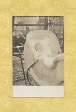X RPPC real photo postcard BABY IN ANTIQUE WICKER CARRIAGE STROLLER 1908-39