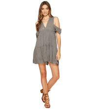 Free People Gauze Indus Cold Shoulder Dress Charcoal Size S LF079 LL 06