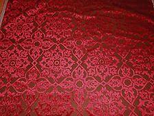 4Y new upholstery Robert Allen CLASSY MOTIF in Ruby cut velvet fabric medallions