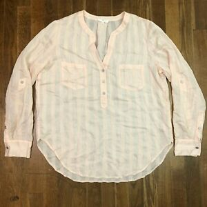 Lou & grey long sleeve popover shirt top striped peach pink size small s