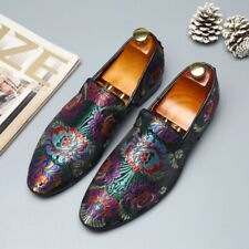 Chic Mens Chinese Style Embroidery Slip On Loafers Canvas Casual Nightclub Shoes