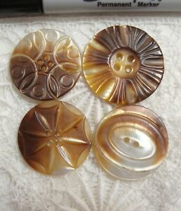 """4 Vintage Carved Mother of Pearl Shell Button 1 1/8"""" to 1 1/4"""""""