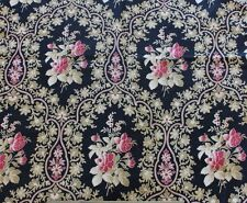 """Antique 19thC French Cotton Twill Rose Cartouche H.F Fabric Yardage~3yds5""""LX31""""W"""