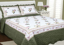 New! Gorgeous White Green Cottage Country Floral Quilted Bedspread Throw Set