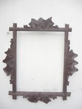 ANTIQUE BLACK FOREST CARVED PICTURE FRAME VINE LEAVES GRAPES