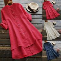 Women Loose Cotton Linen Button Long Shirts Long Sleeve Blouse Tunic Tops