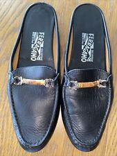 Salvatore Ferragamo black leather slide loafers Mule 7.5