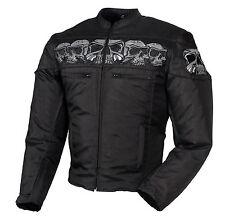 Men's Textile Vented Motorcycle Jacket w/ Reflective Skull Design  Front & Back