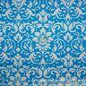 BonEful FABRIC FQ Cotton Quilt Turquoise Blue White Damask Flower Dot Leaf Swirl