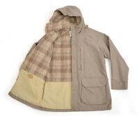 5353^ WOOLRICH Women Hooded Oversized Check Wool Lined Coat Winter Jacket Sz M