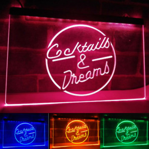 Cocktails and Dreams Neon LED Light Up Sign Bar Pub *QUALITY* Display Home Decor