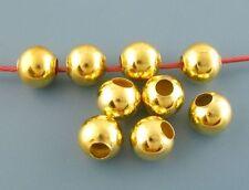 20 Perle Doré 8mm en metal grand trou, creation bijoux, bracelet, collier
