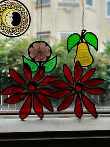 Two(2)Poinsettia Stained Glass Candles Holder Red Christmas Flower Window
