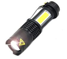 3800LM XML-Q5 + COB LED Flashlight Portable Mini ZOOM Torch Flashlight Lighting