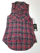 NEW $48 Rock & Republic Top Small Red Plaid Womens Button Down Blouse