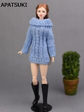 """Blue 1/6 Handmade Knitted Woven Sweater For 11.5"""" Doll Clothes Tops Coat Dress"""