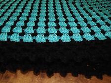 Handmade NEW  Crochet Afghan Aqua turquoise blue & Black  60x60 Box Stitch Throw