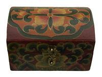 Cofanetto Scatola Buddista Legno Ben Cinabro -14x10cm Artigianato Tibetano 6264