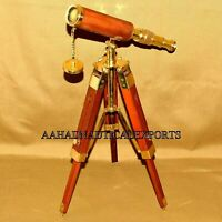 Brass Spyglass Maritime Nautical Telescope With Wooden Tripod Stand Decor