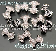 #EA101 3D Nail Art Tips Decoration White Pearl Bow Knot Glitter Rhinestones