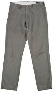 Ralph Lauren Men's Pants Trousers Chino Grey Cotton Pocket Button Zip Size 34/32
