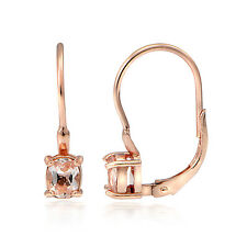 18K Rose Gold over Silver 0.45ct Morganite 4mm Round Leverback Earrings