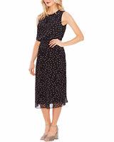 Vince Camuto Womens Dot-Print Chiffon Midi Dress X-Large Rich Black