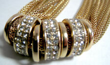 Vintage Goldtone 8-Strand Snake Chain Necklace Chain 7 Golden Rings