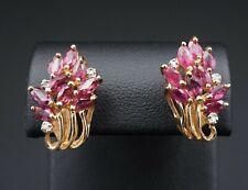 Vintage 14k Yellow Gold 1ct Natural Diamond Spray Cluster Ruby Earrings EG1493