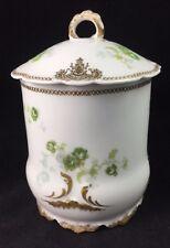 Antique Jean Pouyat LIMOGES Gold Trim Jam / Condensed Milk Jar w/ Lid 1900-1906