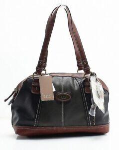 B.O.C Black/charcoal/chocolate Coshocton Power Bank Large Satchel Bag Purse $88