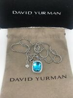 David Yurman Sterling Silver Noblesse Blue Topaz With Diamonds Pendant Necklace