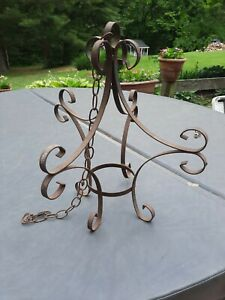 Ornate Black Wrought Iron Hanging Potted Plant Stand backet