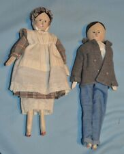 New ListingCute Couple of Antique Wooden Grodner Peg Dolls – Man and Woman with Clothing