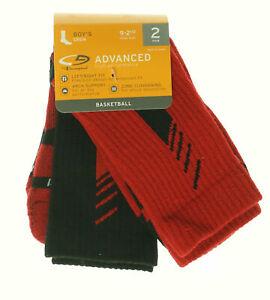 Boy's 2-Pair Crew Basketball Socks Red Black Shoe Size 9-2 1/2
