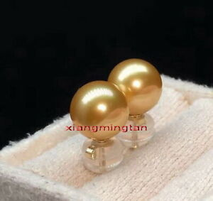Top quality REAL ROUND 18K gold 11-12MM SOUTH SEA golden PEARL STUD EARRINGS