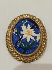 Ancienne broche Fleurs en métal doré et émail