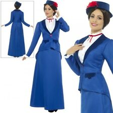Smiffy's 46753x1 Blue Victorian Nanny Costume - Fancy Dress Ladies Mary Outfit